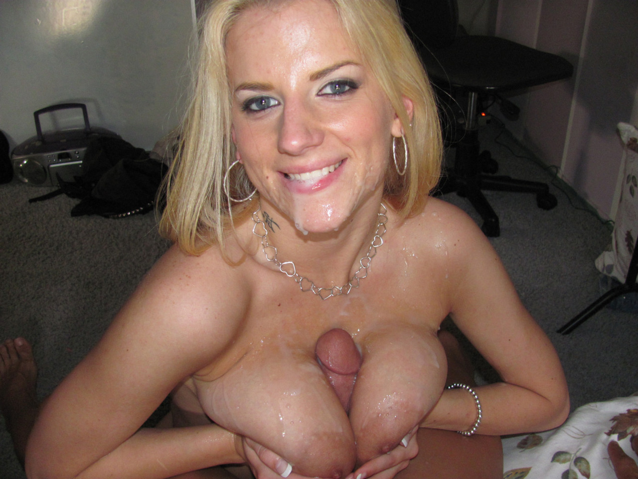 Busty milf works hard to get a facial